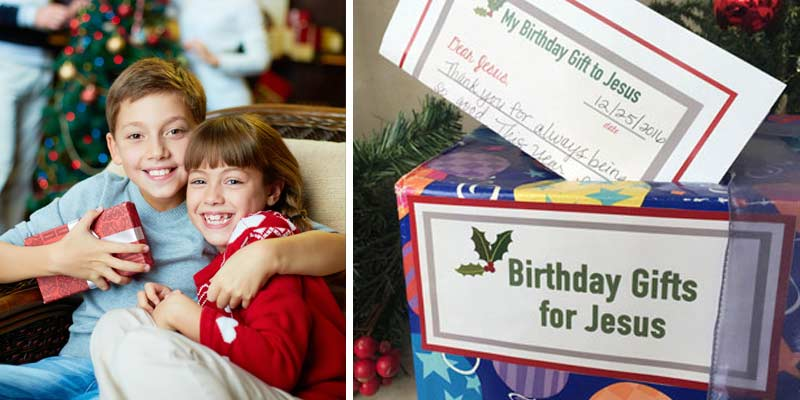 "CHRISTMAS MORNING FAMILY ACTIVITY: Start a Christmas tradition of giving a ""Birthday Gift to Jesus"" every year! Step by step instructions here (including a video) plus awesome printables that make this an easy and meaningful Christmas family activity!"
