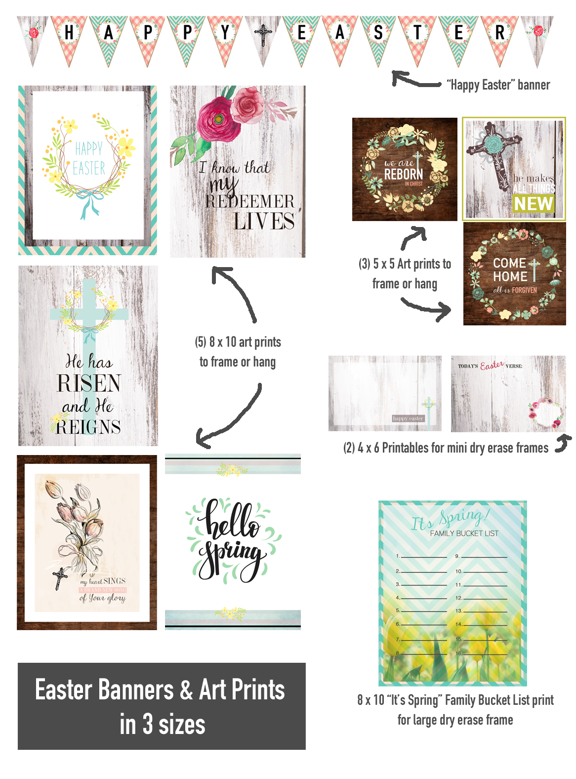 christ centered easter decor | happy easter banner | christ centered easter | easter decor | easter wall art | easter wall decorations | easter printables free | free easter printables decorations