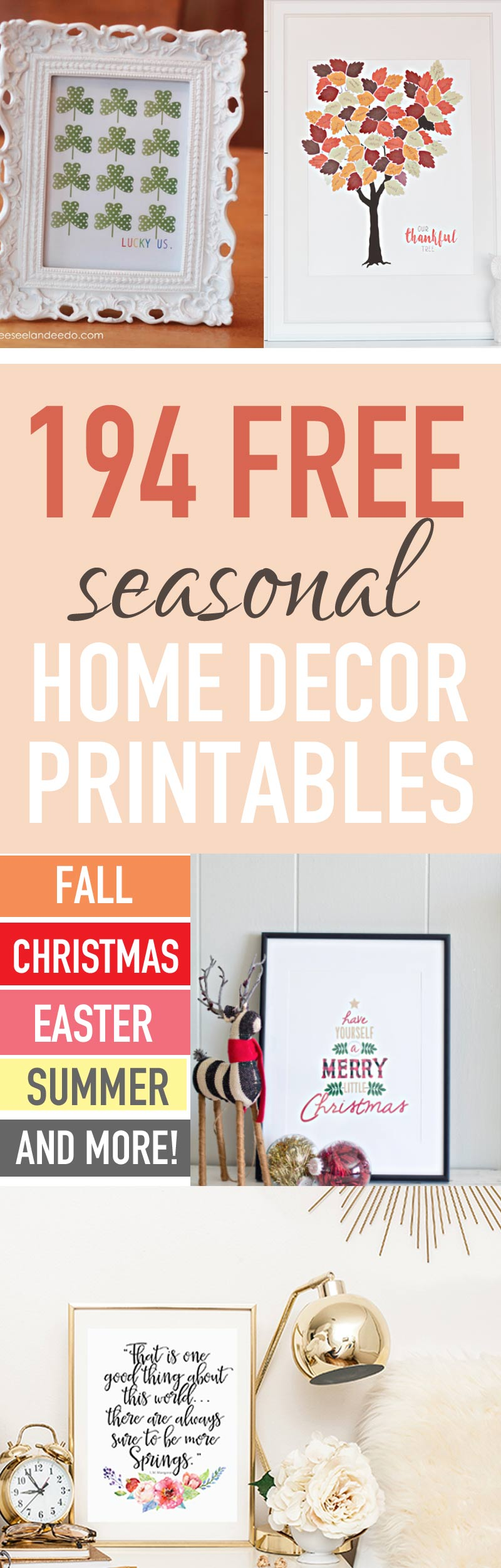 photo relating to Free Printables for Home called Adorn Your Residence Seasonally for Cost-free (250+ Totally free Dwelling Decor