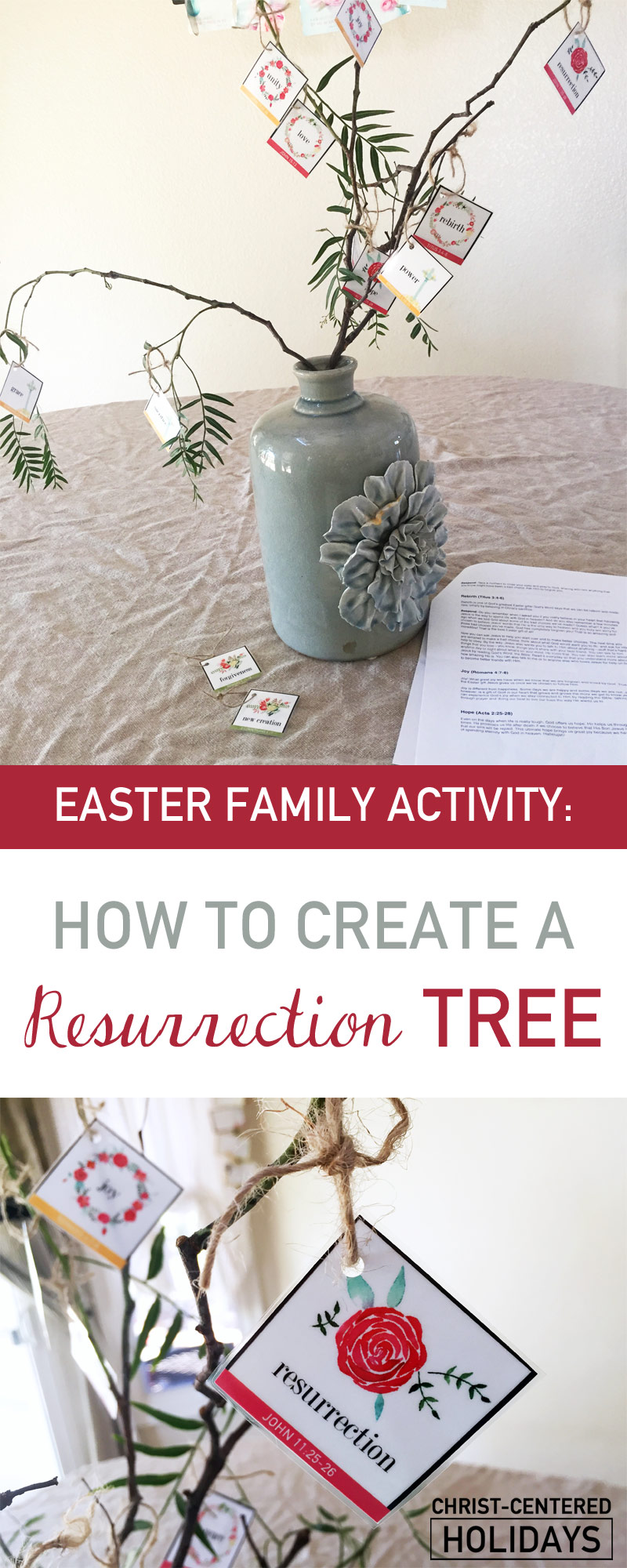 This Resurrection Tree activity is one of several fun Resurrection lessons for kids or Easter games for kids that teach about the true story of Easter! Our family loves making a Resurrection Tree at Easter as part of our family's Easter crafts for kids. Teach your children about Jesus' Resurrection story with this activity for kids. #easteractivitiesforkids #easteractivitiesforkidschristian #resurrectioncraftsforkids #resurrectionactivitiesforkids #resurrectionactivitiesforteens