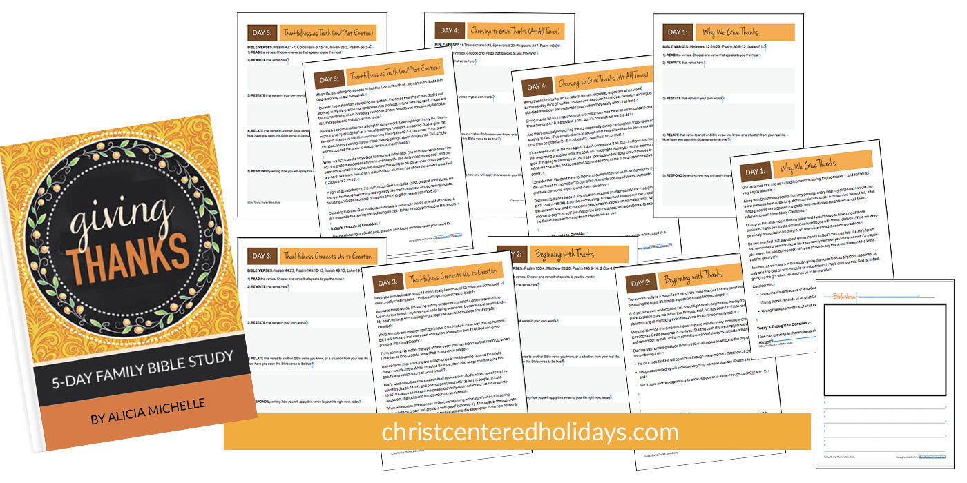 "Looking for a Thanksgiving Bible study or a thankful Bible study for your family? You'll love the 5-day ""Giving Thanks"" 5Rs Bible Study resource that's a perfect Bible study for kids or adults. Re-discover the power of a thankful heart as you explore what God's word says about authentic thanks giving."